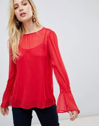 Vila fluted sleeve blouse