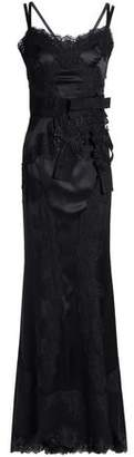 Dolce & Gabbana Lace-Paneled Bow-Embellished Silk-Blend Satin Gown