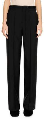 Jil Sander Flat-Front Straight-Leg Wool-Mohair Pants with Thin Belt