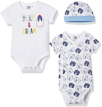 Silly Apples Unisex Baby 3-Piece Short-Sleeve Bodysuits and Cap Outfit Set (24M)