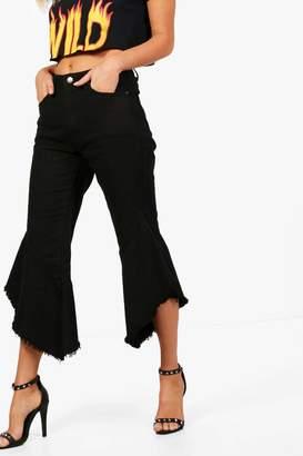 boohoo High Waisted Ruffle Hem Jeans