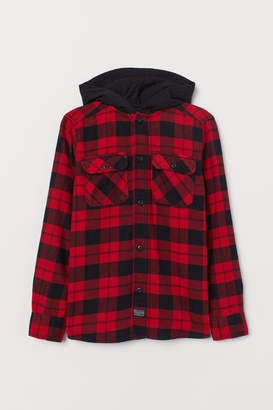 H&M Hooded Flannel Shirt - Red