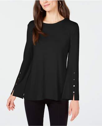 Alfani Petite Hardware-Sleeve Sweater