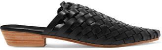 ST. AGNI Paris Woven Leather Slippers - Black
