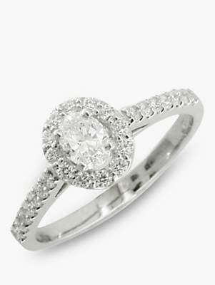 EWA Platinum Oval Cut Diamond Cluster Engagement Ring, Platinum