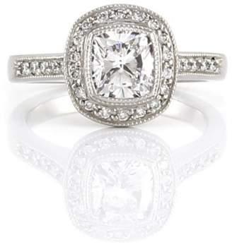 Halo Platinum Cushion Diamond and Pave Diamond Engagement Ring Size 6