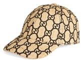 Gucci Aisha Genuine Snakeskin Trim GG Embroidered Raffia Baseball Cap