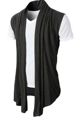 Gocgt Mens Sleeveless Draped Open Front Shawl Collar Vest Cardigan XS