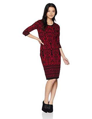 Gabby Skye Women's Petite 3/4 Sleeve Scoop Neck Midi Sweater Sheath Dress