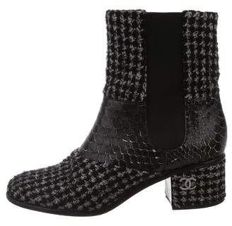 Chanel Tweed Python-Trimmed Ankle Boots