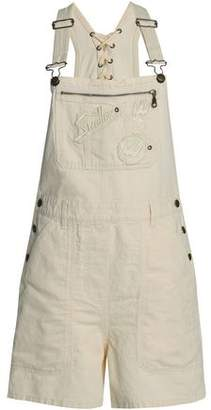 McQ Lace-up Appliqued Cotton And Linen-blend Overalls