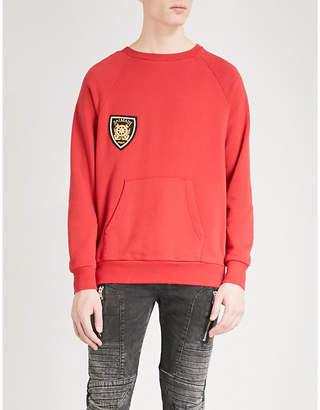 Balmain Badge-detail cotton-jersey sweatshirt