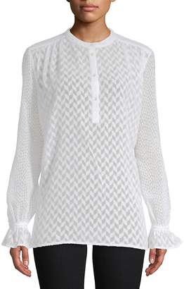French Connection Women's Corsica Sheer Patterned Blouse