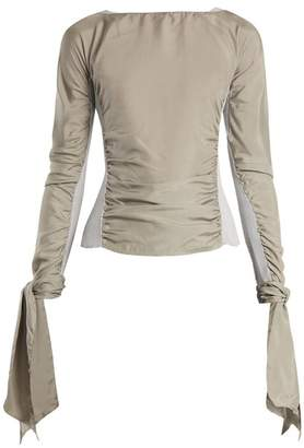Lemaire Contrast Panel Ruched Crepe De Chine Top - Womens - Grey