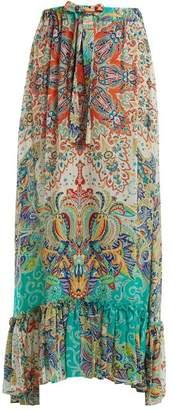 Etro - Abstract Floral Print Ruffle Trim Skirt - Womens - Green Multi