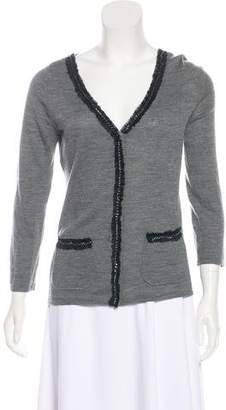 Philosophy di Alberta Ferretti Silk-Accented Virgin Wool Cardigan