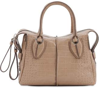 Tod's Croc Embossed Leather Top Handle Bag