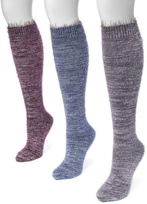 Muk Luks Women's 3-pk. Raw Cuff Knee-High Socks