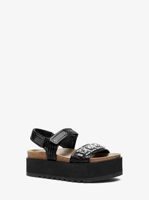Michael Kors Elsie Embellished Snakeskin Flatform Sandal