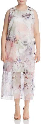 Vince Camuto Plus Diffused Blooms Midi Dress