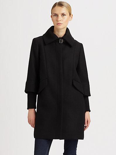 Cole Haan Wool/Twill Cocoon Coat