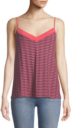 Three Dots Striped V-Neck Draped Strappy Tank Top