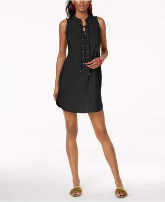 INC International Concepts Trina Turk x I.n.c. Linen Blend Lace-Up Dress, Created for Macy's