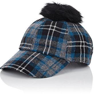Hat Attack HAT ATTACK WOMEN'S FUR POM-POM FLANNEL BASEBALL CAP $59 thestylecure.com