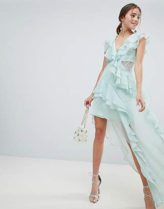 Asos Design DESIGN soft asymmetric ruffle lace insert maxi dress
