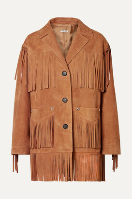 Miu Miu Oversized Fringed Suede Jacket - Light brown