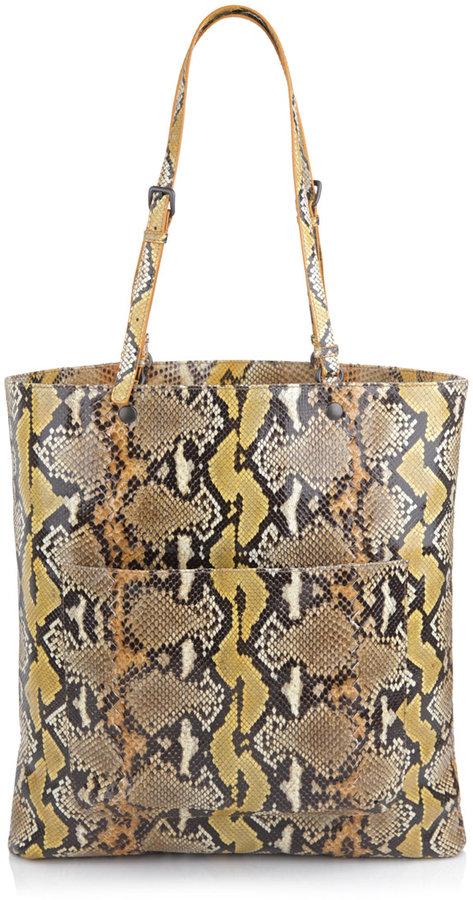 Bottega Veneta Python Levre suede-lined tote bag