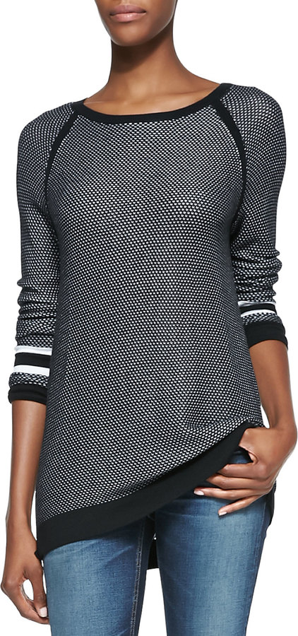 Rag and Bone Martina Striped-Detail Jersey Pullover Top
