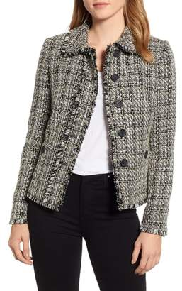 Karl Lagerfeld PARIS Tweed Peter Pan Collar Jacket