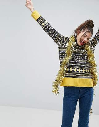 Asos Christmas Jumper With Vintage Fairisle With Roll Neck
