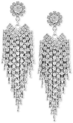 GUESS Silver-Tone Crystal & Chain Fringe Drop Earrings