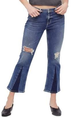 Free People Colorblock Crop Jeans