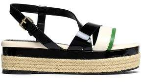 Lanvin Color-Block Smooth And Patent-Leather Platform Sandals