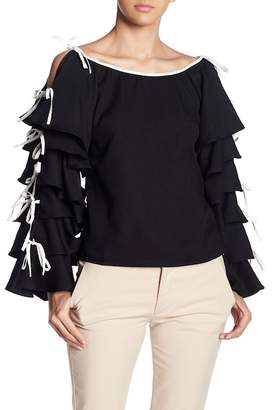 Gracia Tiered Ruffle Sleeve Top