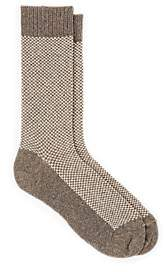 Barneys New York Men's Checked Cashmere-Blend Mid-Calf Socks - Light Gray