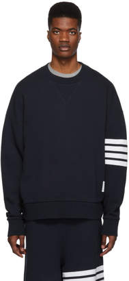 Thom Browne Navy 4-Bar Oversized Classic Sweatshirt