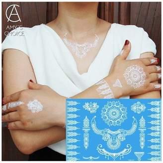 Amy Choice Waterproof Temporary Tattoo Metallic Gold Silver Body Art Flash Tattoo Sticker For India Henna Tattoo
