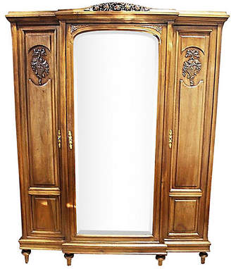 One Kings Lane Vintage French Walnut 3-Door Armoire - House of Charm Antiques