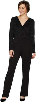 Lisa Rinna Collection Long Sleeve V Neck Jumpsuit