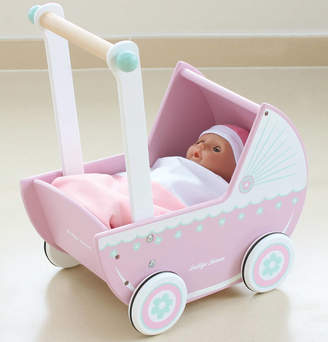 Jammtoys wooden toys Retro Pink Wooden Role Play Dolls Pram
