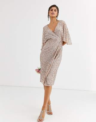 Maya Bridesmaid delicate sequin wrap midi dress in taupe blush