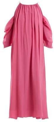 Anna October - Cut Out Shoulder Silk Dress - Womens - Pink