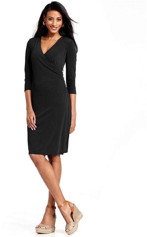 Charter Club Dress, Three-Quarter-Sleeve Faux Wrap