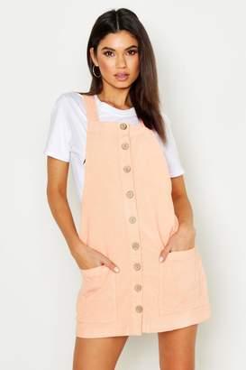 boohoo Button Through Cord Pinafore Dress