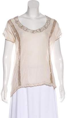 Isabel Marant Metallic Embellished Short Sleeve Top
