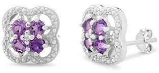 Forever New Sterling Silver Rhodium Plated Amethyst Diamond Accent Cluster Stud Earrings